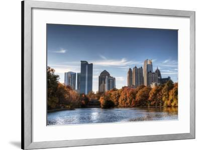 Skyline and Reflections of Midtown Atlanta, Georgia in Lake Meer from Piedmont Park.-SeanPavonePhoto-Framed Photographic Print