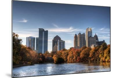 Skyline and Reflections of Midtown Atlanta, Georgia in Lake Meer from Piedmont Park.-SeanPavonePhoto-Mounted Photographic Print