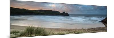 Sunrise Landscape Panorama Three Cliffs Bay in Wales with Dramatic Sky-Veneratio-Mounted Photographic Print