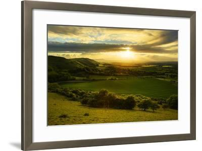 Stunning Countryside Landscape with Sun Lighting Side of Hills at Sunset-Veneratio-Framed Photographic Print