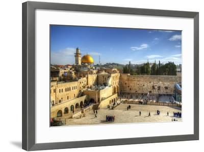 Western Wall and Dome of the Rock in the Old City of Jerusalem, Israel.-SeanPavonePhoto-Framed Photographic Print