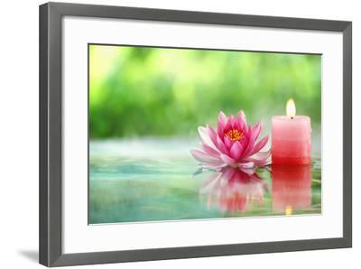 Burning Candle and Water Lily in Water.-Liang Zhang-Framed Photographic Print