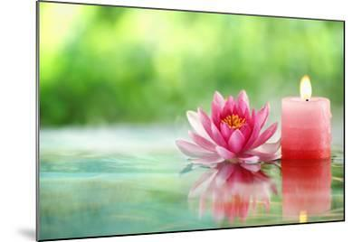 Burning Candle and Water Lily in Water.-Liang Zhang-Mounted Photographic Print