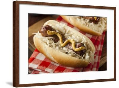 Homemade Bratwurst with Sauerkraut-bhofack22-Framed Photographic Print