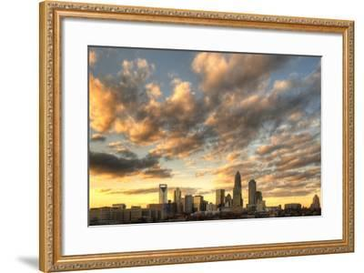 Skyline of Uptown Charlotte, North Carolina under Dramatic Cloud Cover.-SeanPavonePhoto-Framed Photographic Print