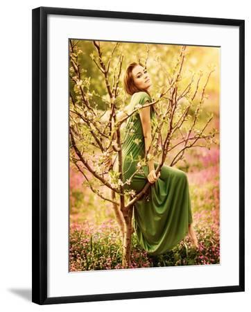 Fairy Tail Forest Nymph Beautiful Y Woman At Spring Garden Wearing Long Dress