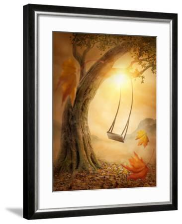 Old Swing Hanging from a Large Tree-egal-Framed Photographic Print