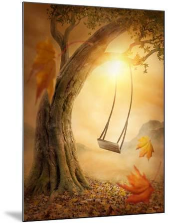 Old Swing Hanging from a Large Tree-egal-Mounted Photographic Print