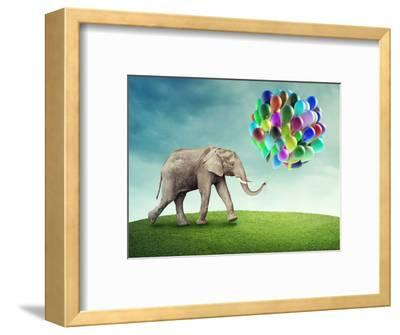 Elephant with a Colorful Balloons-egal-Framed Photographic Print