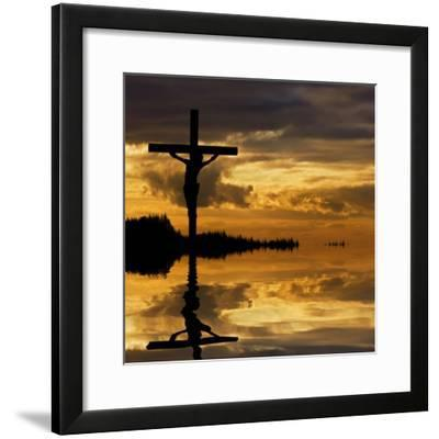Jesus Christ Crucifixion on Good Friday Silhouette Reflected in Lake Water-Veneratio-Framed Photographic Print