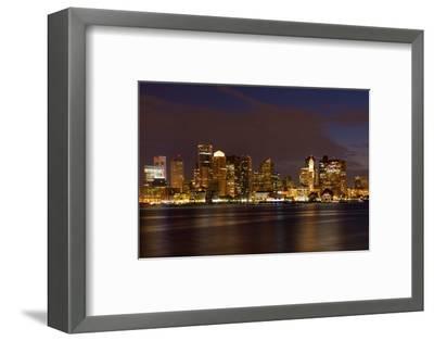 Boston Skyline by Night from East Boston, Massachusetts-Samuel Borges-Framed Photographic Print