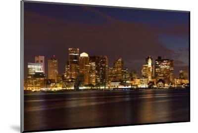 Boston Skyline by Night from East Boston, Massachusetts-Samuel Borges-Mounted Photographic Print