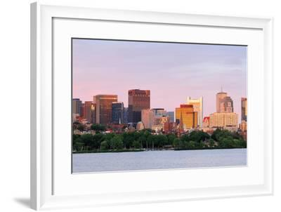Boston Charles River Sunset with Urban Skyline and Skyscrapers-Songquan Deng-Framed Photographic Print