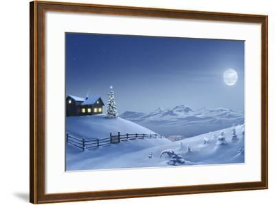 Digital Painting of a Silent Christmas Night in the Snow Covered Mountains.-Inga Nielsen-Framed Photographic Print
