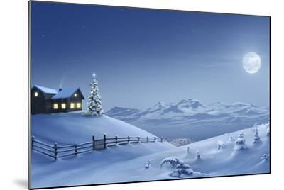 Digital Painting of a Silent Christmas Night in the Snow Covered Mountains.-Inga Nielsen-Mounted Photographic Print