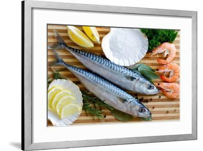Seafood, Fish - Fresh Mackerel and Shrimps in Cuisine-Gorilla-Framed Photographic Print