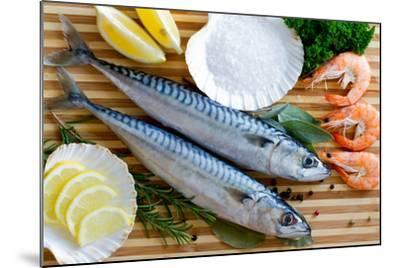 Seafood, Fish - Fresh Mackerel and Shrimps in Cuisine-Gorilla-Mounted Photographic Print