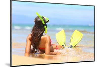 Woman Relaxing on Summer Beach Vacation Holidays Lying in Sand with Snorkeling Mask and Fins Smilin-Maridav-Mounted Photographic Print