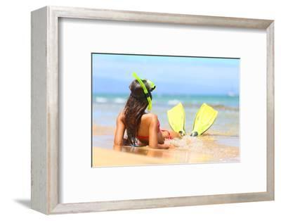 Woman Relaxing on Summer Beach Vacation Holidays Lying in Sand with Snorkeling Mask and Fins Smilin-Maridav-Framed Photographic Print