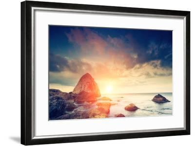 Fantastic Morning Blue Sea Glowing by Sunlight. Dramatic Scene. Black Sea, Crimea, Ukraine, Europe.-Leonid Tit-Framed Photographic Print