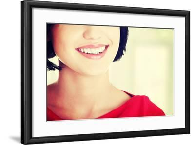 Beautiful Woman with Her Perfect Straight White Teeth.-B-D-S-Framed Photographic Print