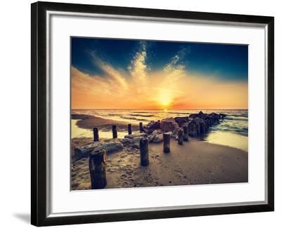 Vintage Retro Photo of Beach at Sunset.-Maciej Bledowski-Framed Photographic Print