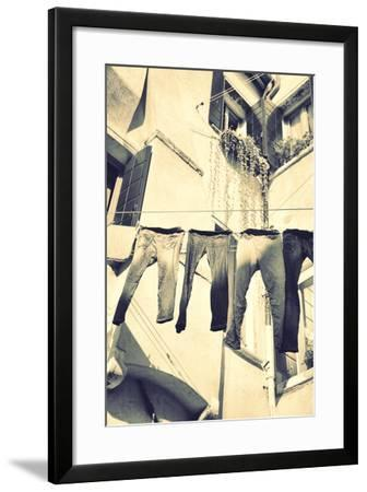 Clothes Airing Outdoor in Venice, Italy. Black and White, Instagram Style Filter-Zoom-zoom-Framed Photographic Print