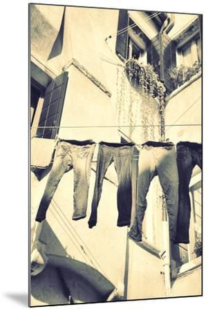 Clothes Airing Outdoor in Venice, Italy. Black and White, Instagram Style Filter-Zoom-zoom-Mounted Photographic Print