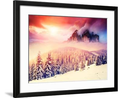 Fantastic Evening Landscape in a Colorful Sunlight. Dramatic Wintry Scene. National Park Carpathian-Leonid Tit-Framed Photographic Print