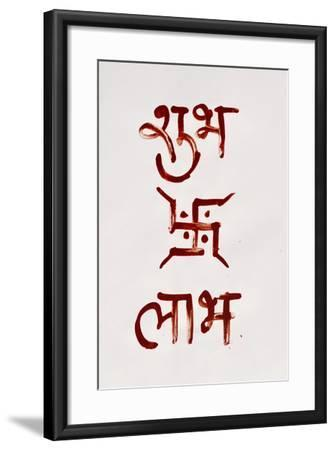 Indian Religious Script - 'Shubh': Good/Prosperous, 'Laabh': Profit.-satel-Framed Photographic Print