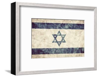 Israel Grunge Flag. Vintage, Retro Style. High Resolution, Hd Quality. Item from My Grunge Flags Co-Michal Bednarek-Framed Photographic Print