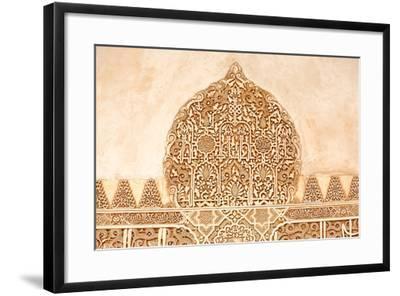 Moorish Plasterwork from inside the Alhambra Palace in Granada-Lotsostock-Framed Photographic Print