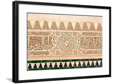 Moorish Plasterwork and Tiles from inside the Alhambra Palace-Lotsostock-Framed Photographic Print