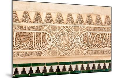 Moorish Plasterwork and Tiles from inside the Alhambra Palace-Lotsostock-Mounted Photographic Print