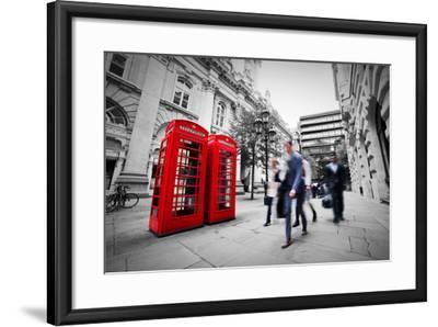 Business Life Concept in London, the Uk. Red Phone Booth, People in Suits Walking-Michal Bednarek-Framed Photographic Print