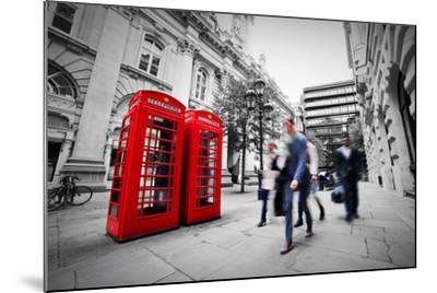 Business Life Concept in London, the Uk. Red Phone Booth, People in Suits Walking-Michal Bednarek-Mounted Photographic Print