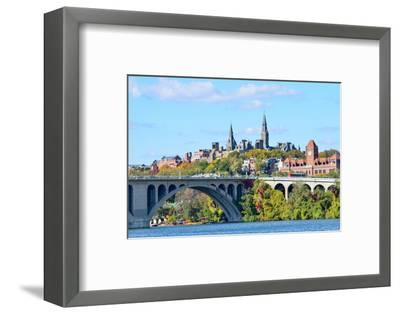 Washington Dc, a View from Georgetown and Key Bridge in Autumn-Orhan-Framed Photographic Print