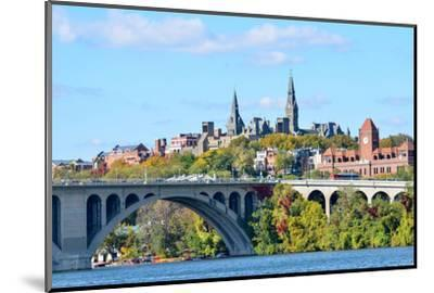 Washington Dc, a View from Georgetown and Key Bridge in Autumn-Orhan-Mounted Photographic Print