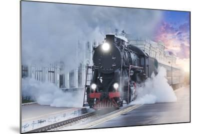 Retro Steam Train.-Breev Sergey-Mounted Photographic Print