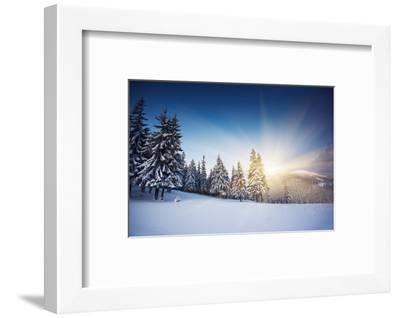 Majestic Sunset in the Winter Mountains Landscape. HDR Image-Leonid Tit-Framed Photographic Print