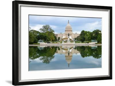 Washington Dc, US Capitol Building and Mirror Reflection on Water-Orhan-Framed Photographic Print