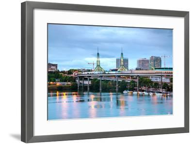 Downtown Portland Cityscape at the Night Time-photo ua-Framed Photographic Print