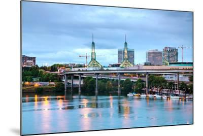 Downtown Portland Cityscape at the Night Time-photo ua-Mounted Photographic Print