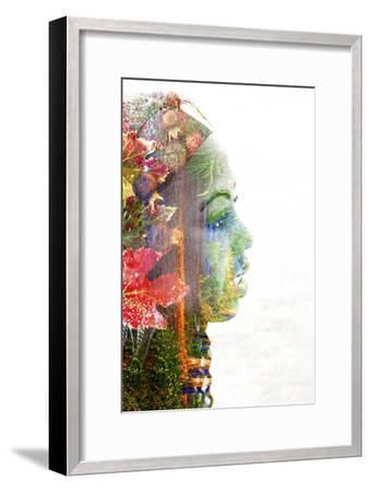 Double Exposure Portrait of A Young Woman with Colorful Flowers-illu-Framed Photographic Print