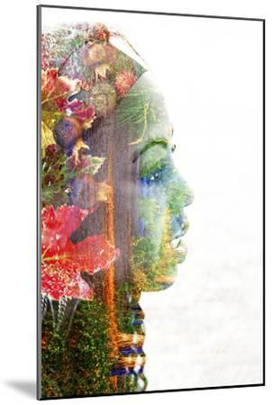 Double Exposure Portrait of A Young Woman with Colorful Flowers-illu-Mounted Photographic Print