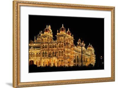Mysore Palace in India Illuminated at Night-flocu-Framed Photographic Print