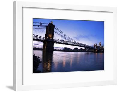 Historic Bridge in Cincinnati-benkrut-Framed Photographic Print