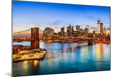 New York City, USA Skyline over East River and Brooklyn Bridge.-SeanPavonePhoto-Mounted Photographic Print