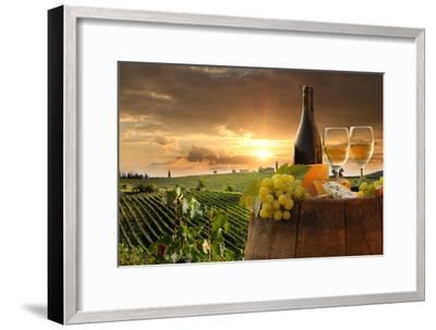 White Wine with Barrel on Vineyard in Chianti, Tuscany, Italy-extravagantni-Framed Photographic Print