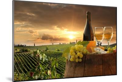 White Wine with Barrel on Vineyard in Chianti, Tuscany, Italy-extravagantni-Mounted Photographic Print